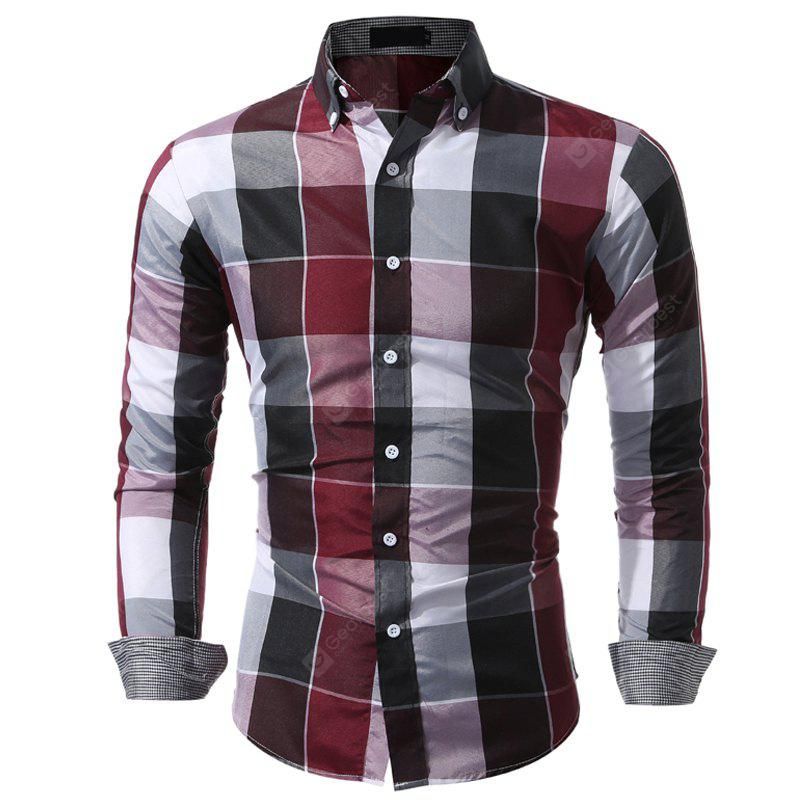 Wash and Wear Men'S Casual Plaid Shirt