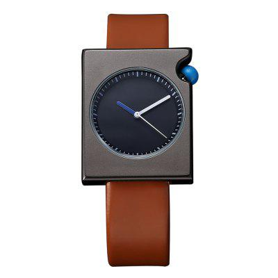 TOMI T002 Unisex Fashion Leather Strap Rectangle Case Wrist Watch with Box