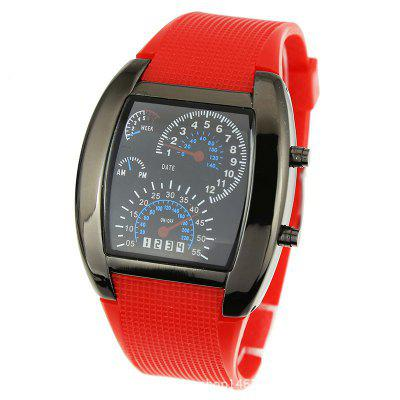 V5 Electronic Meter Silicone Band Square Wrist Watch for Men