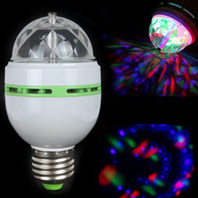 RGB 3W E27 Crystal Auto Rotating Led Bulb Full Color Stage DJ Lamp Light Mini  Bulb Lamp Adapter