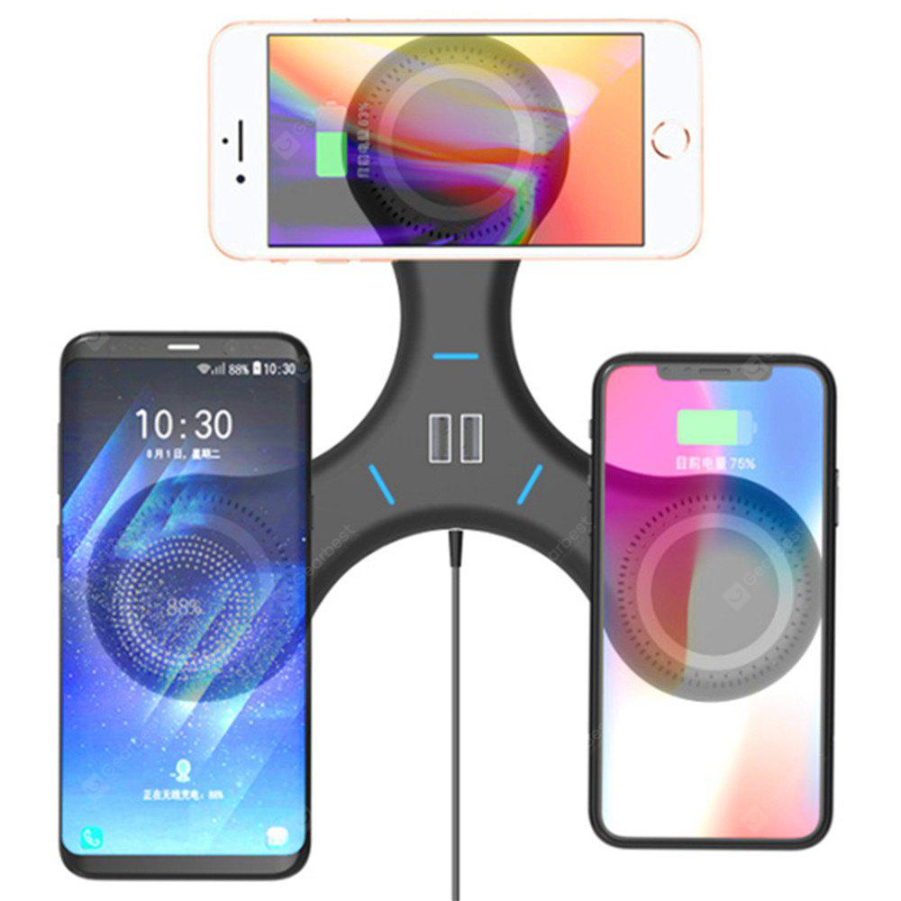 QI Multifunctional Wireless Charger with 3 Wireless Charging Ports and 2 USB Ports for Qi-Devices