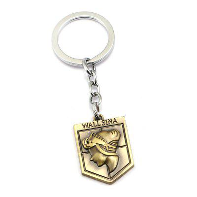 Golden Men Women Portraits  Metal Decoration Key Chain for Anime Fans