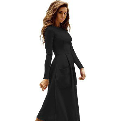 Large Size Womens Round Neck Long Sleeve High Waist DressSleeveless Dresses<br>Large Size Womens Round Neck Long Sleeve High Waist Dress<br><br>Dresses Length: Knee-Length<br>Elasticity: Micro-elastic<br>Fabric Type: Broadcloth<br>Material: Cotton<br>Neckline: Round Collar<br>Package Contents: 1 x Dress<br>Pattern Type: Solid<br>Season: Fall, Spring<br>Silhouette: A-Line<br>Sleeve Length: Long Sleeves<br>Style: Casual<br>Waist: Natural<br>Weight: 0.5900kg<br>With Belt: No
