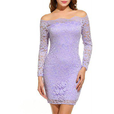 Long Sleeved Package Hip Lace Dress