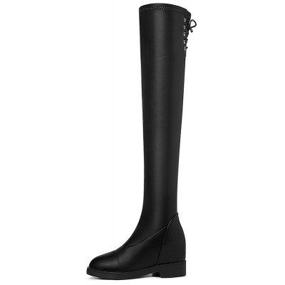 Flat Bottom Thin Thigh-High BootWomens Boots<br>Flat Bottom Thin Thigh-High Boot<br><br>Boot Height: Over-the-Knee<br>Boot Type: Fashion Boots<br>Closure Type: Lace-Up<br>Gender: For Women<br>Heel Type: Chunky Heel<br>Package Contents: 1x shoes (pair)<br>Pattern Type: Solid<br>Season: Spring/Fall, Winter<br>Toe Shape: Round Toe<br>Upper Material: PU<br>Weight: 1.6896kg