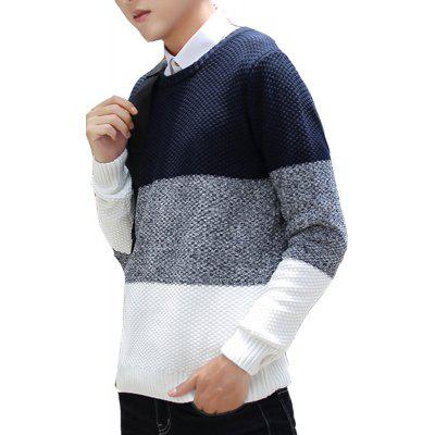 Men's Sweater Fashion Color Block All Match Casual Pullover
