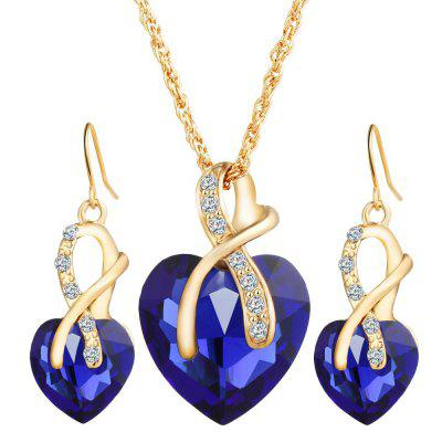 Austrian Crystal Zircon Heart-Shaped Earrings Necklace Set