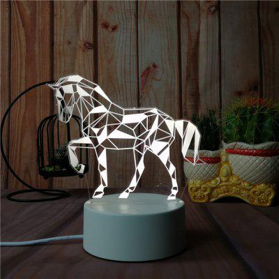 3D The Horse Night Light Plug LED Stereo Bedroom Bedside Lamp
