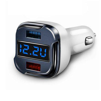 Quick Charge Car Charger, 24W 5A Fast Dual USB Charger Adapter With Voltage Meter Monitor Ammeter Current Tester