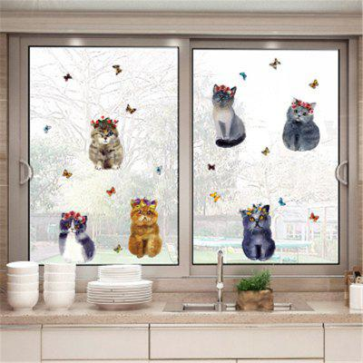 Six Lovely Painted Cats Wall Sticker with Wall Decoration Posters. six crows