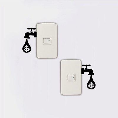 2 Pcs Creative Saving Tips Drip Dollars Save Electricity Switch Sticker Home DecorWall Stickers<br>2 Pcs Creative Saving Tips Drip Dollars Save Electricity Switch Sticker Home Decor<br><br>Art Style: Plane Wall Stickers, Toilet Stickers<br>Color Scheme: Black<br>Effect Size (L x W): 9 x 10 cm<br>Function: Light Switch Stickers, Decorative Wall Sticker<br>Layout Size (L x W): 9 x 10 cm<br>Material: Vinyl(PVC)<br>Package Contents: 2 x Wall Stickers<br>Package size (L x W x H): 11.00 x 12.00 x 1.00 cm / 4.33 x 4.72 x 0.39 inches<br>Package weight: 0.0200 kg<br>Product size (L x W x H): 9.00 x 10.00 x 0.01 cm / 3.54 x 3.94 x 0 inches<br>Product weight: 0.0100 kg<br>Quantity: 1 Set<br>Sizes: Others<br>Subjects: Fashion,Vintage,Others,Letter,Cute,Cartoon,Music,Famous,Romance<br>Suitable Space: Living Room,Hotel,Kids Room,Pathway,Kids Room,Boys Room,Girls Room,Game Room<br>Type: Plane Wall Sticker