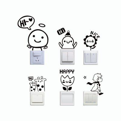 6 Pcs Cute Cartoon Vinyl Switch Sticker for Kids Room Bedroom Home DecorWall Stickers<br>6 Pcs Cute Cartoon Vinyl Switch Sticker for Kids Room Bedroom Home Decor<br><br>Art Style: Plane Wall Stickers, Toilet Stickers<br>Color Scheme: Black<br>Effect Size (L x W): 34.1 x 43 cm<br>Function: Light Switch Stickers, Decorative Wall Sticker<br>Layout Size (L x W): 34.1 x 43 cm<br>Material: Vinyl(PVC)<br>Package Contents: 6 x Wall Stickers<br>Package size (L x W x H): 45.00 x 5.00 x 5.00 cm / 17.72 x 1.97 x 1.97 inches<br>Package weight: 0.0800 kg<br>Product size (L x W x H): 34.10 x 43.00 x 0.01 cm / 13.43 x 16.93 x 0 inches<br>Product weight: 0.0300 kg<br>Quantity: 1 Set<br>Sizes: Others<br>Subjects: Fashion,Vintage,Others,Letter,Cute,Cartoon,Music,Famous,Romance<br>Suitable Space: Living Room,Hotel,Kids Room,Pathway,Kids Room,Boys Room,Girls Room,Game Room<br>Type: Plane Wall Sticker