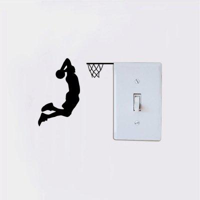 Basketball Player Dunk Silhouette Light Switch Sticker Cartoon Sport Vinyl Wall DecorWall Stickers<br>Basketball Player Dunk Silhouette Light Switch Sticker Cartoon Sport Vinyl Wall Decor<br><br>Art Style: Plane Wall Stickers, Toilet Stickers<br>Color Scheme: Black<br>Effect Size (L x W): 11 x 12 cm<br>Function: Light Switch Stickers, Decorative Wall Sticker<br>Layout Size (L x W): 11 x 12 cm<br>Material: Vinyl(PVC)<br>Package Contents: 1 x Wall Sticker<br>Package size (L x W x H): 13.00 x 14.00 x 1.00 cm / 5.12 x 5.51 x 0.39 inches<br>Package weight: 0.0200 kg<br>Product size (L x W x H): 11.00 x 12.00 x 0.01 cm / 4.33 x 4.72 x 0 inches<br>Product weight: 0.0100 kg<br>Quantity: 1<br>Sizes: Others<br>Subjects: Fashion,Vintage,Others,Letter,Cute,Cartoon,Music,Famous,Romance<br>Suitable Space: Living Room,Hotel,Kids Room,Pathway,Kids Room,Boys Room,Girls Room,Game Room<br>Type: Plane Wall Sticker