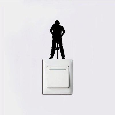 Construction Worker Hammering Light Switch Sticker Cartoon Silhouette Vinyl Wall Sticker