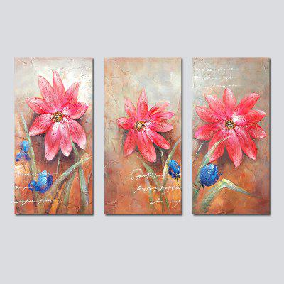 QiaoJiaHuaYuan No Frame Canvas Living Room Sofa Background Decoration Hanging Painting Triplet of Plant Flowers.