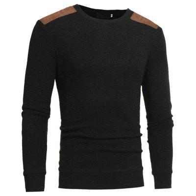 2018 Autumn and Winter New Suede Patch Cloth Design Men Round Neck Casual Slim Knit Sweater