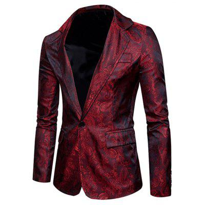 The New Spring Fashion Hombre Casual Paisley Jacket British Royal Style Suit