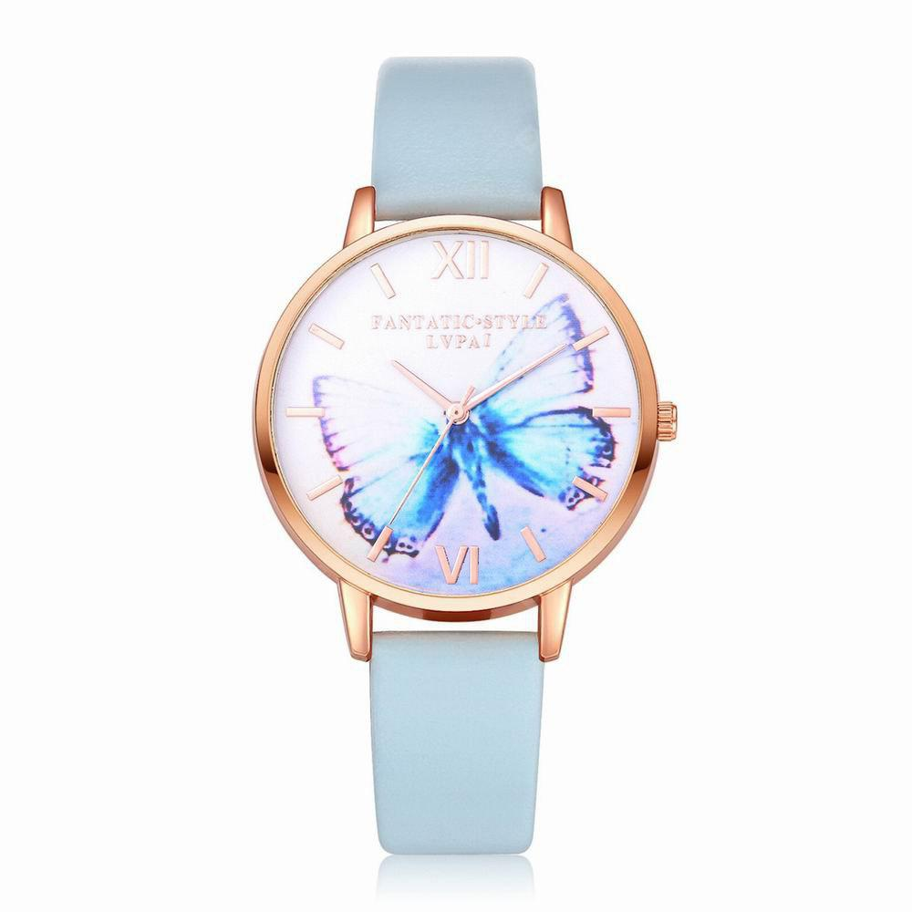 Lvpai P227-R Women Fashion Butterfly Dial Leather Band Quartz Watch