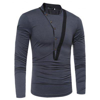 Skew Button Stitching Long Sleeved T-ShirtMens Long Sleeves Tees<br>Skew Button Stitching Long Sleeved T-Shirt<br><br>Collar: Round Neck<br>Material: Cotton, Polyester<br>Package Contents: 1 xT-shirt<br>Pattern Type: Others<br>Sleeve Length: Full<br>Style: Casual<br>Weight: 0.2500kg