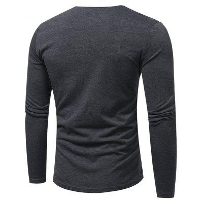 Fashion Love Collar Button Stitching T - ShirtMens Long Sleeves Tees<br>Fashion Love Collar Button Stitching T - Shirt<br><br>Collar: V-Neck<br>Material: Cotton, Polyester<br>Package Contents: 1 x T - shirt<br>Pattern Type: Others<br>Sleeve Length: Full<br>Style: Casual<br>Weight: 0.2500kg