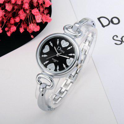 DS030 Women Metal Bracelet Wrist Watch with HeartsWomens Watches<br>DS030 Women Metal Bracelet Wrist Watch with Hearts<br><br>Band material: Zinc Alloy<br>Band size: 19 x 0.6 CM<br>Case material: Alloy<br>Clasp type: Sheet folding clasp<br>Dial size: 3 x 3 x 0.7 CM<br>Display type: Analog<br>Movement type: Quartz watch<br>Package Contents: 1 x Watch<br>Package size (L x W x H): 20.00 x 4.00 x 1.00 cm / 7.87 x 1.57 x 0.39 inches<br>Package weight: 0.0370 kg<br>Product size (L x W x H): 19.00 x 3.00 x 0.70 cm / 7.48 x 1.18 x 0.28 inches<br>Product weight: 0.0350 kg<br>Shape of the dial: Round<br>Special features: Day<br>Watch mirror: Mineral glass<br>Watch style: Fashion, Business, Retro, Lovely, Wristband Style, Jewellery, Casual<br>Watches categories: Women,Female table<br>Water resistance: No