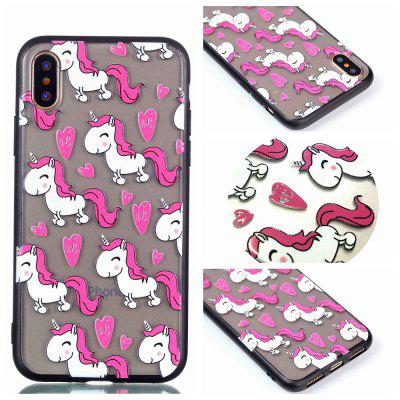 Custodia Cover per Iphone X Relievo Unicorn Soft Custodia TPU per smartphone