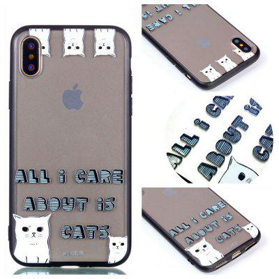 Cover Case for Iphone X Relievo Cat Soft Custodia TPU per smartphone