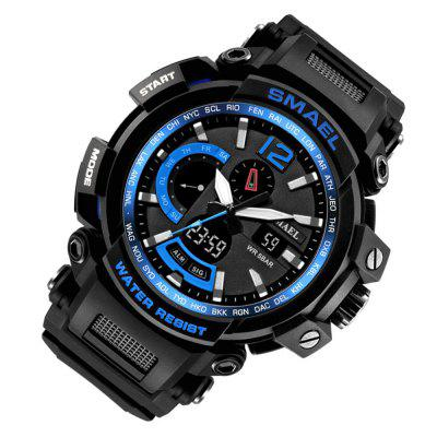 SMAEL 1702 Cool Multi-function Waterproof Electronic WatchLED Watches<br>SMAEL 1702 Cool Multi-function Waterproof Electronic Watch<br><br>Band material: Silicone<br>Band size: 22 x 2.1cm<br>Brand: SMAEL<br>Case material: Plastic<br>Clasp type: Pin buckle<br>Dial size: 5.35 x 5.35 x 1.76cm<br>Display type: Analog-Digital<br>Hour formats: 12/24 Hour<br>Movement type: Quartz + digital watch<br>Package Contents: 1 x Watch, 1 x Box<br>Package size (L x W x H): 7.50 x 7.50 x 8.00 cm / 2.95 x 2.95 x 3.15 inches<br>Package weight: 0.1400 kg<br>People: Male table<br>Product size (L x W x H): 22.00 x 5.35 x 1.76 cm / 8.66 x 2.11 x 0.69 inches<br>Product weight: 0.0700 kg<br>Shape of the dial: Round<br>Special features: Luminous, Stopwatch, Alarm Clock<br>Watch style: Casual, Outdoor Sports, LED, Classic, Fashion<br>Water resistance: 50 meters