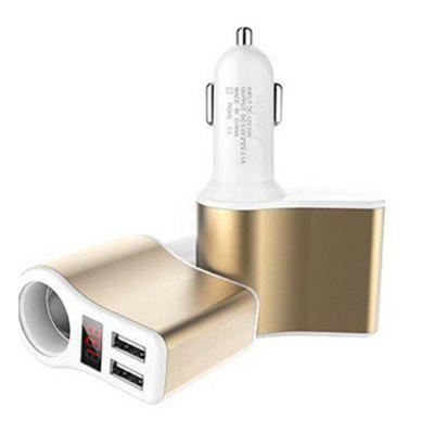 1  Sockets Cigarette Lighter Splitter Dual USB Car Charger Adapter with Voltage Display Compatible   12-24V Voltage Suit