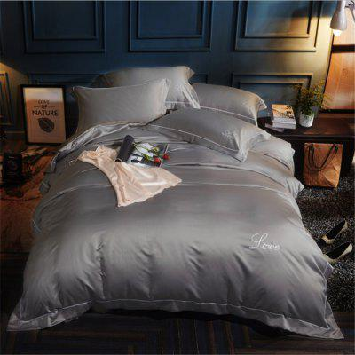 Washed Classic Imitate Satin Satin Plain Color Embroidery Bedding Set