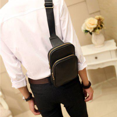 Leather Waist Pack Men's Small Crossbody Bag Korean Casual Leather Unbalance Backpack- BLACK