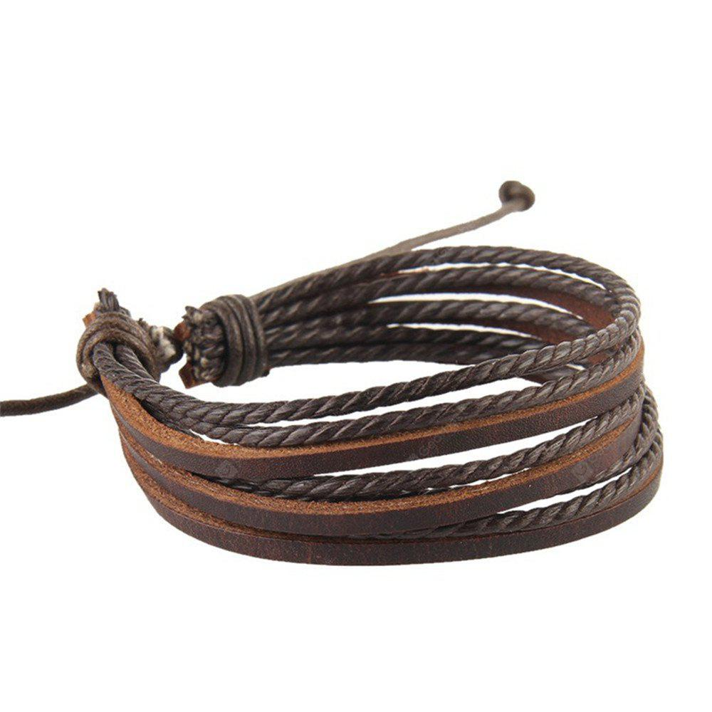 SUP4 Leather Bracelets & Bangles for Men and Women Braided Rope Jewelry - BROWN from Gearbest Image