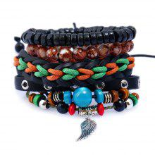 Man DIY Jewelry Woven Cowhide Leather Bracelet and Bangles