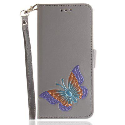Cover Case for Huawei P10 Hand Draw A Butterfly PU+TPU Leather with Stand and Card Slots Magnetic Closure- GRAY