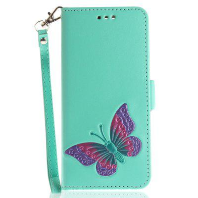 Cover Case for Huawei P10 Hand Draw A Butterfly PU+TPU Leather with Stand and Card Slots Magnetic Closure