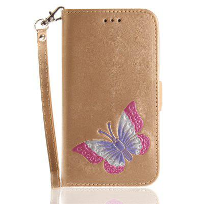 Cover Case for iPhone X Hand Draw A Butterfly PU+TPU Leather with Stand and Card Slots Magnetic Closure