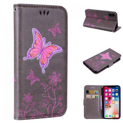 for iPhone X Butterfly Pattern PU Leather Wallet Flip Protective Case Cover with Card Slots