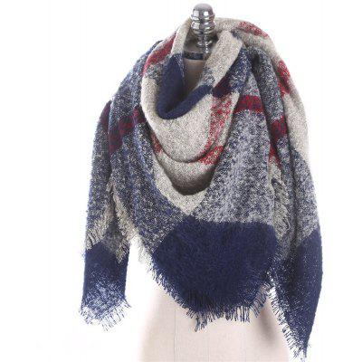 M1766 Circle Yarn Single Striped Lattice Scarf