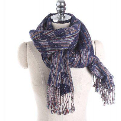 M1768 Leaf Pattern Striped Fringed Scarf