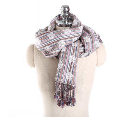 M1769 Plum Pattern Striped Fringed Scarf