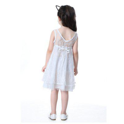 The New Girl White Lace Openwork Halter V Word Princess Dress guess new white illusion panel halter dress msrp $129 dbfl