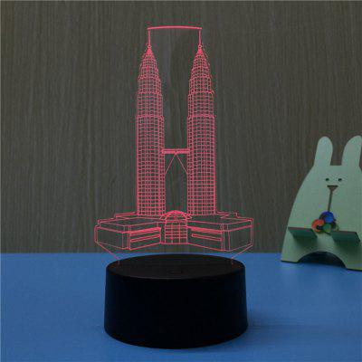 3D The Twin Towers Night Light Plug LED Stereo Bedroom Bedside Lamp