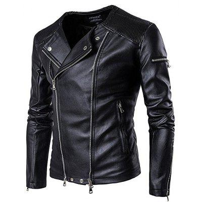 Grande Nova Moda Lapel Motorcycle Zipper Short Tide Male Jacket