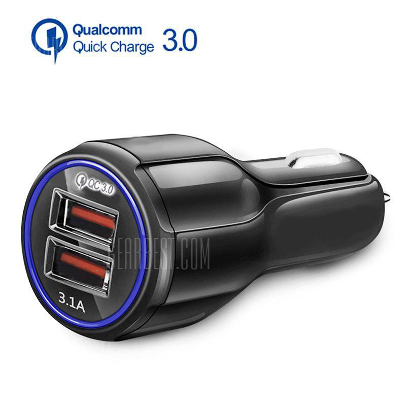 Gearbest 3.1A Dual USB Car Charger Quick Charge QC 3.0 Car Charger for iPhone Samsung XIaomi - BLACK
