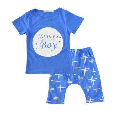 SOSOCOER Kids Boys and Girls Clothes Set Letter Short Sleeved T-shirt + Cross Printing Shorts Two pieces