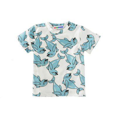 SOSOCOER Kids Boys Clothes Set Summer Dolphin Printed Short Sleeved T-shirts + Pants Two Pieces big teenage boys clothes set summer 2017 kids colorful striped t shirts