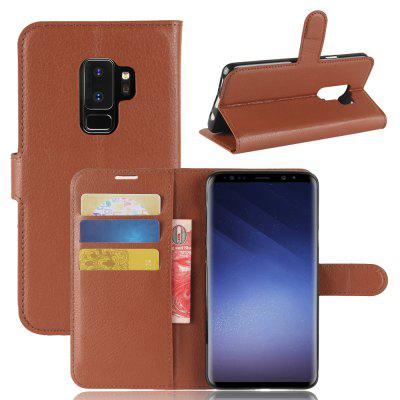 Solid Color Litchi Pattern Wallet Style Front Buckle Flip Pu Leather Case for Samsung Galaxy S9 Plus