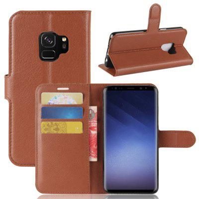 Solid Color Litchi Pattern Wallet Style Front Buckle Flip Pu Leather Case for Samsung Galaxy S9