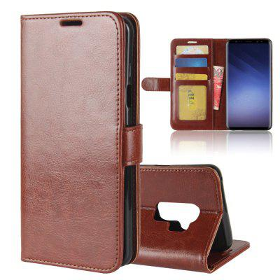 Durable Crazy Horse Pattern Back Buckle Flip PU Leather Wallet Case for Samsung Galaxy S9 Plus