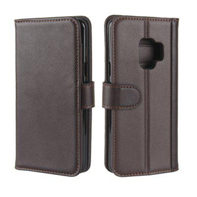 Solid Color Real Cow Leather Wallet Style Front Buckle Flip Case with Card Slots for Samsung Galaxy S9